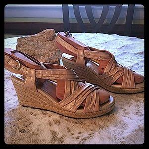 Taupe Clarks espadrille sandals